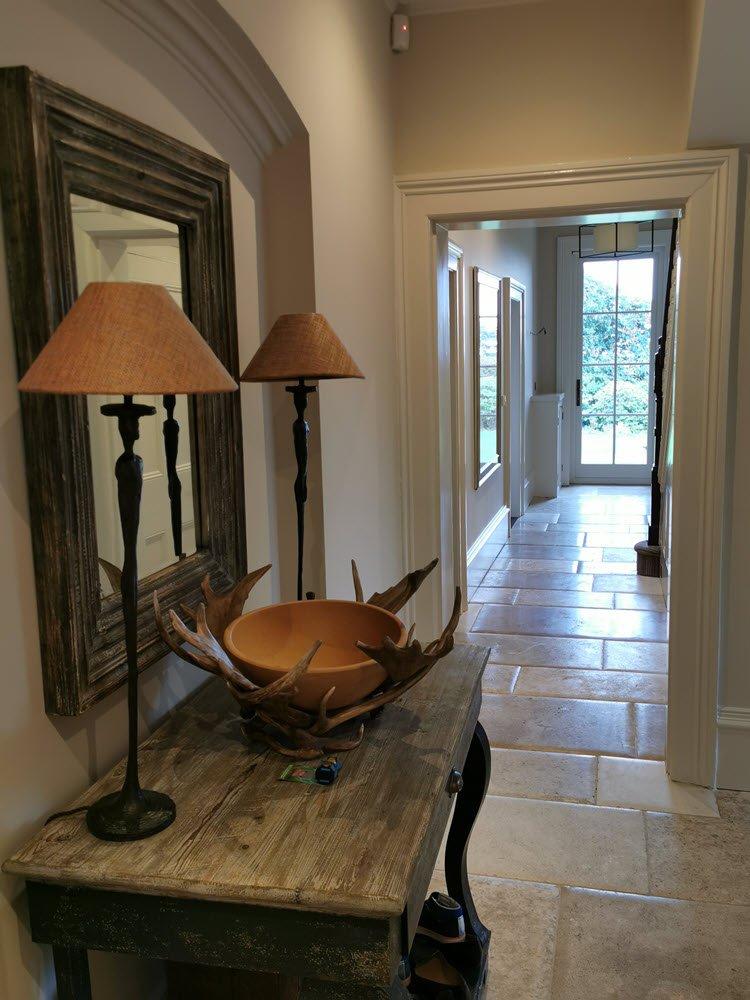 Hallway, ceiling, skirtings and doors